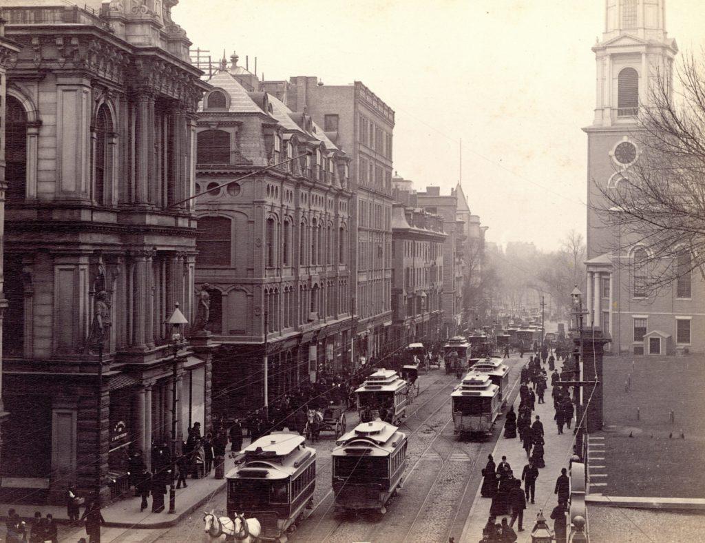 Tremont Street, full of streetcars c. 1891